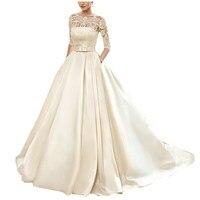 На заказ бальное платье кружевное свадебное платье es 2019 сатин с курткой посмотрите на дешевое 1/2 рукава развертки Поезд свадебное платье