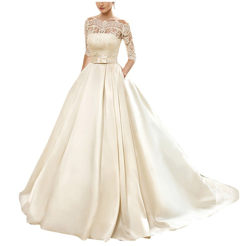 Custom Made Ball Gown Lace Wedding Dresses 2019 Satin With Jacket See Though 1/2 Sleeves Sweep Train Bridal Wedding Dress