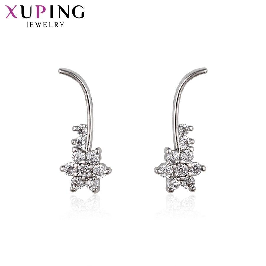 11,11 сделок Xuping мода элегантный цветок Форма серьги с синтетических CZ Jewelryfor Для женщин Рождество подарок S56.1-92055