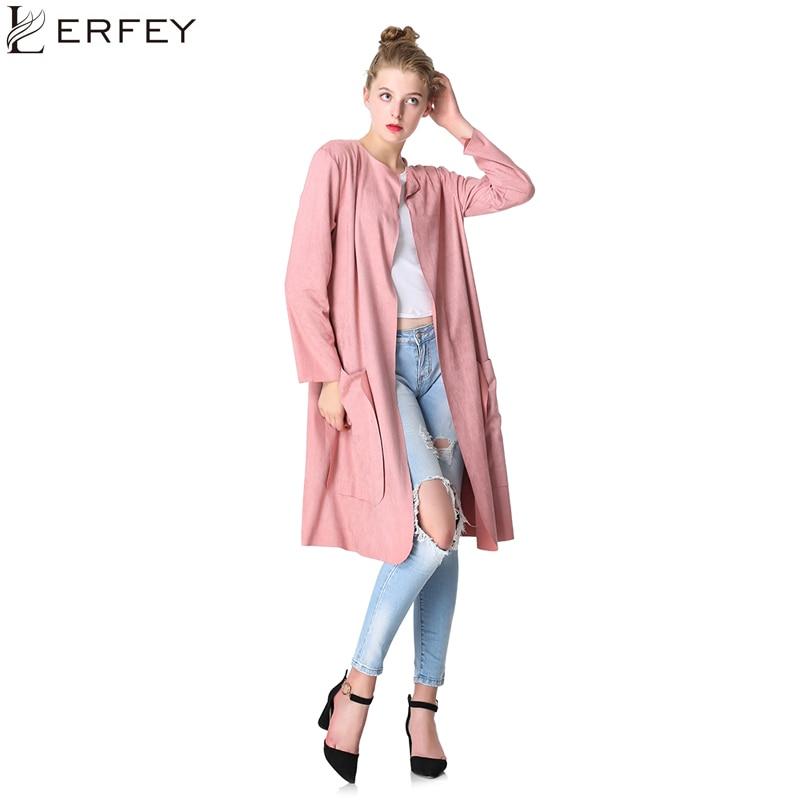 LERFEY Women Autumn Coats Brown Suede Windbreaker Wrap Coat Long Tops Casual Pockets   Trench   Workwear Coat Plus Size 3XL