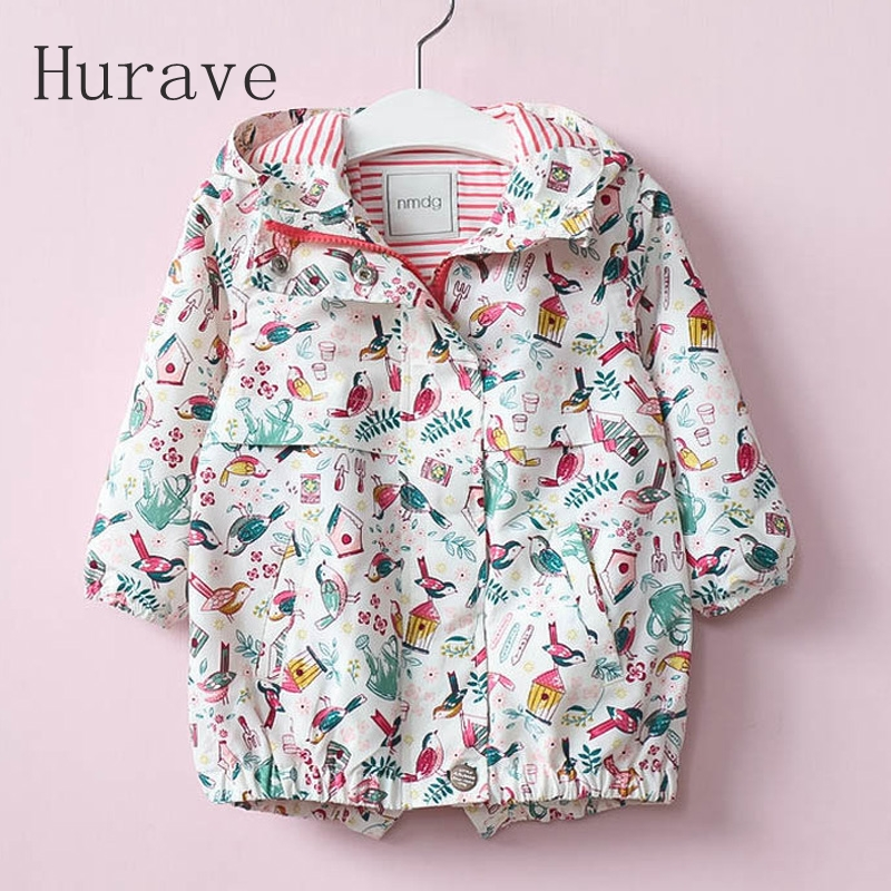 Hurave Store Hurave 2017 Spring Jacket 2 Color Girls Kids Outerwear Cute Print Windbreaker Coats Fashion Print Canvas Baby Children Clothing