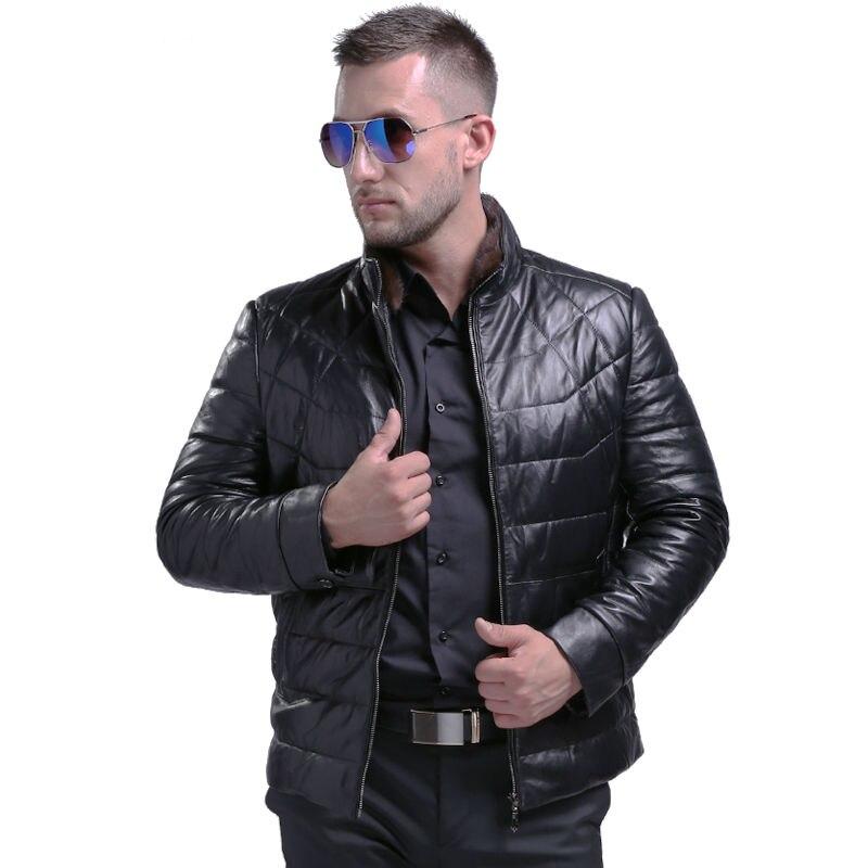 AIBIANOCEL Мужская Мода из натуральной овчины вниз кожаные пальто с норки меховой воротник зима теплая натуральная кожа Белое пуховое пальто