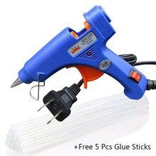 цена на 20W Plug Hot Melt Glue Gun with free 5 Pcs 7mm*100mm Glue Stick Industrial Mini Guns Thermo Electric Heat Temperature Tool