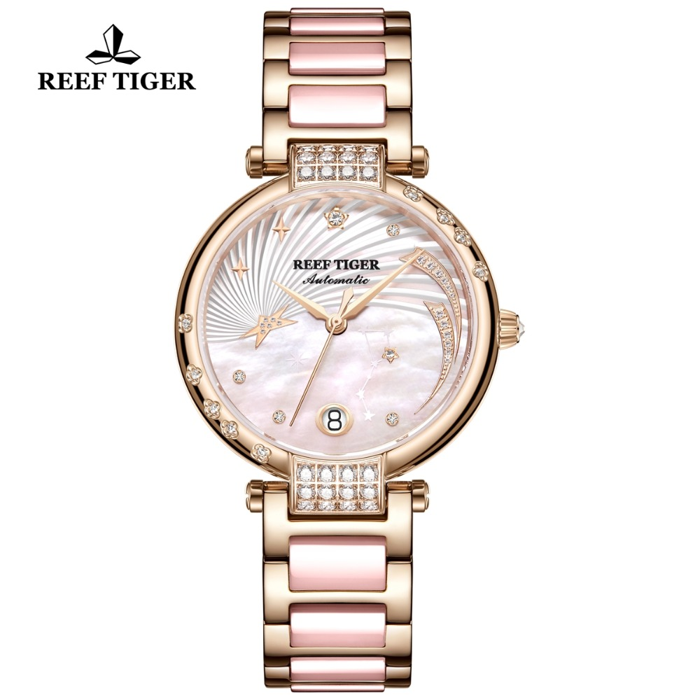 Reef Tiger/RT Brand Luxury Rose Gold Women Watch Diamond Polaris Dial Automatic Bracelet Watches 2019 New Love Galaxy RGA1592Reef Tiger/RT Brand Luxury Rose Gold Women Watch Diamond Polaris Dial Automatic Bracelet Watches 2019 New Love Galaxy RGA1592