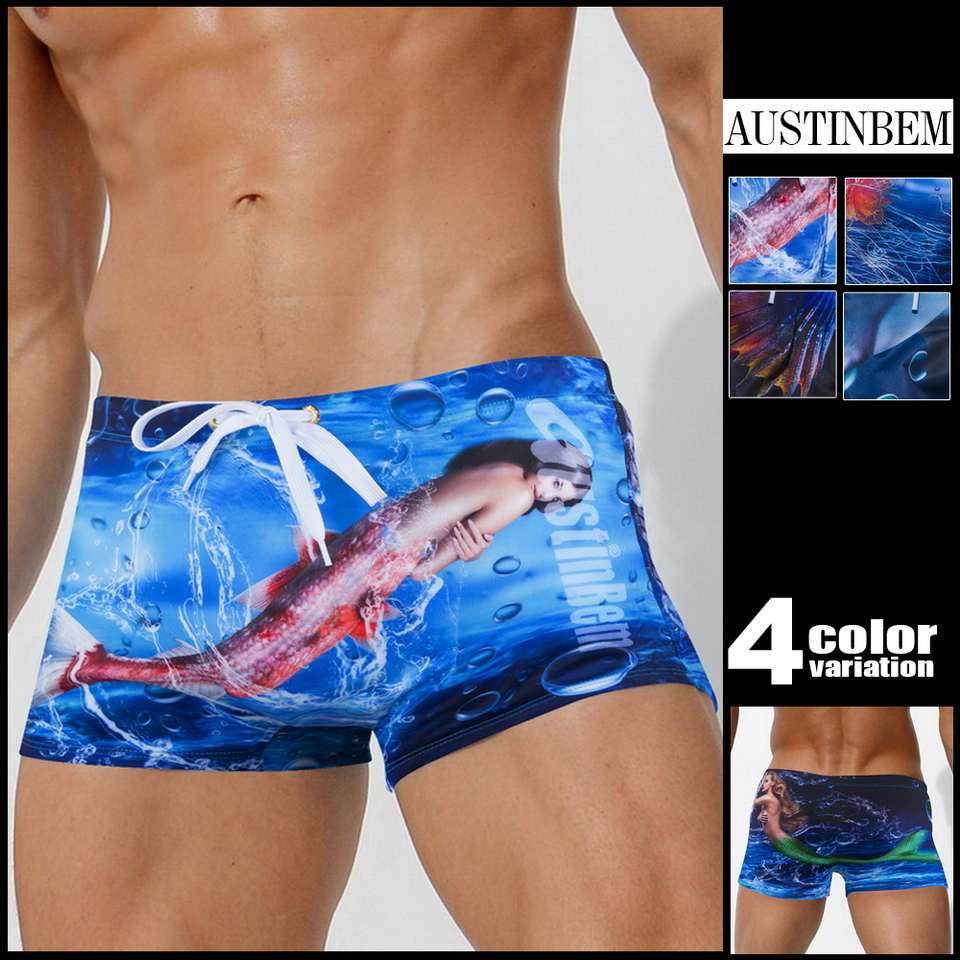 Austinbem Swimwear Men Trunks Briefsaliens Men's Beach Print 23101 Zwembroek Heren