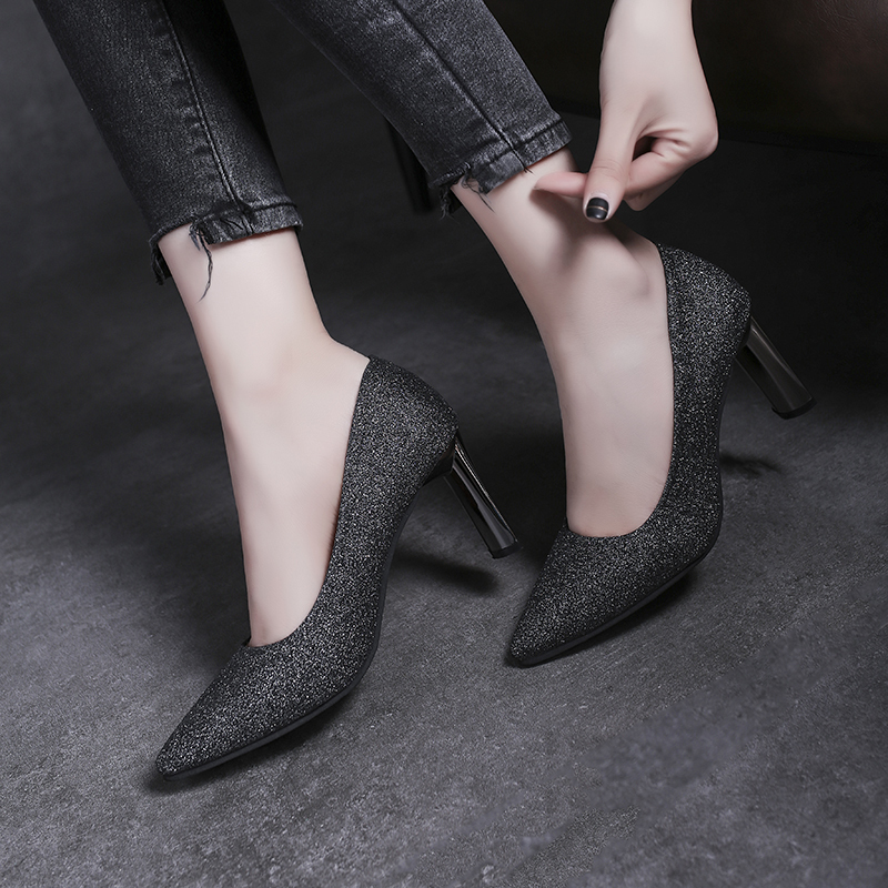 Women Girls Fashion Pumps Business Shoes Ladies Thick with High Heel Pointed Single Shoes