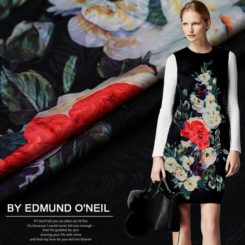 1 Meter SpringAutumn Floral Clothing Fabric,Satin Fabric,Elastic Lattice Farbic for Dress,cheongsam,Coat,Suit