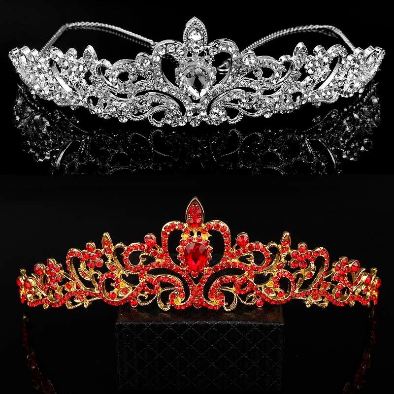 dongsheng High Grade Wedding Crown Jewelry Gold Tiaras Fashion Heart Red Crystal Bride Head Hair Accessories Queen Hairwear -30