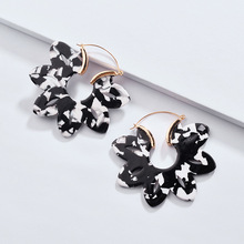 New Arrival 7 Colors Hollow Flower Shape Acid Acrylic Resin Drop Earrings Female