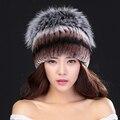 Winter Caps With Fox Fur Ball 100% Natural Rex Rabbit Fur Winter Hat For Lady Fashion Fur Cap Warm Beanies Lady headwear  Bone