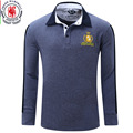 Europe Size New Brand Men's Solid Long Sleeve Polo Shirt Autumn Full Sleeve Warm Shirt Casual Topes Jeans Blue Plus Size 051