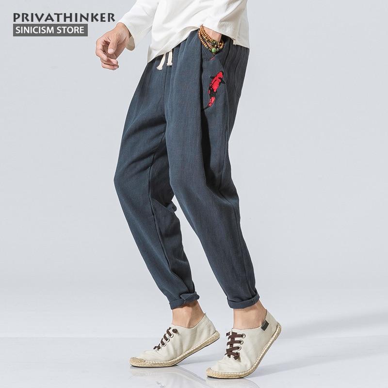 Trouser Chinese Harem-Pants Sinicism Store Cotton Linen Male Plus-Size Fish-Embroidery
