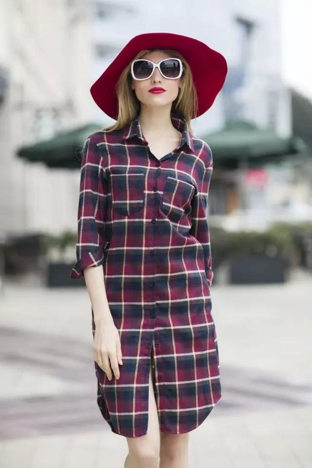 Autumn Fashion Lady Red Plaid Cotton Shirt Dresses For Women Turn ...