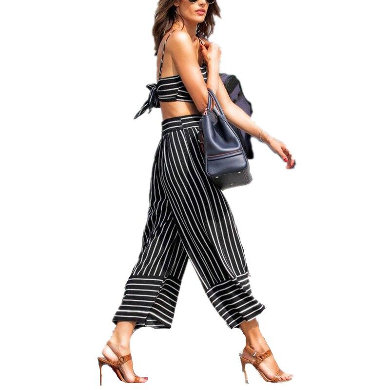 2017 Fashion Women Casual Striped   Pants     Capris   Summer Hot Pop Style New Women Fashion High Waist Wide   Pants   Stripe Bell-bottom