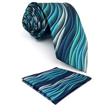 Y23 Turquoise Multicolor Ripple Geometric Classic Silk Extra Long Mens Tie