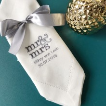 Mr& Mrs персонализированные салфетки белые салфетки, пользовательские салфетки для ужина, салфетки для свадебной вечеринки