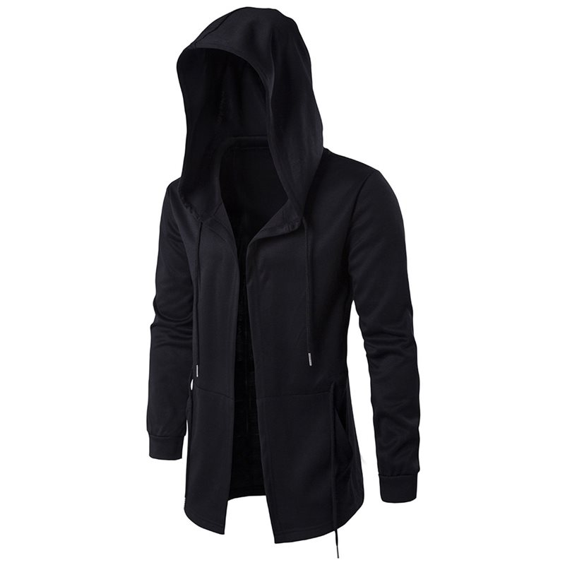 Men's Trench Coat Loose Casual Long Hooded Streetwear Hip Hop Windbreaker Jacket 5XL Punk Gothic Overcoat Cloak Autumn Outwear