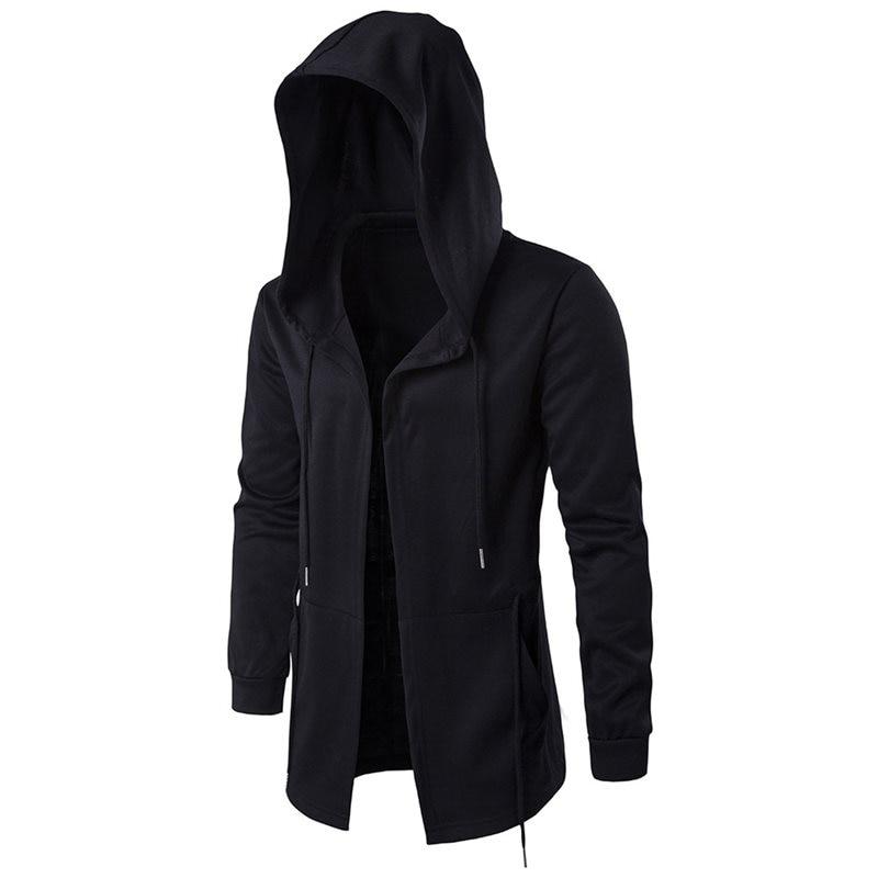 Men's Trench Coat Loose Casual Long Hooded Streetwear Hip Hop Windbreaker Jacket 5XL Punk Gothic Overcoat Cloak Autumn Outwear