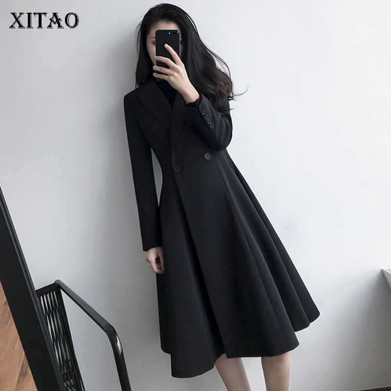 [XITAO] Double Breasted Women Europe Fashion New Solid Color   Trench   Female Turn-down Collar Full Sleeve Pleated   Trench   ZLL2761