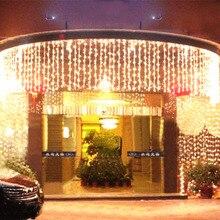 10x0.65M 320 LED 야외 홈 따뜻한 화이트 크리스마스 장식 크리스마스 문자열 요정 커튼 Garlands 파티 조명 결혼식