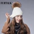 2016 Furtalk  Real Fur Hat Knitted Real Big  Raccoon  Pom Pom Hat Women Winter Hat