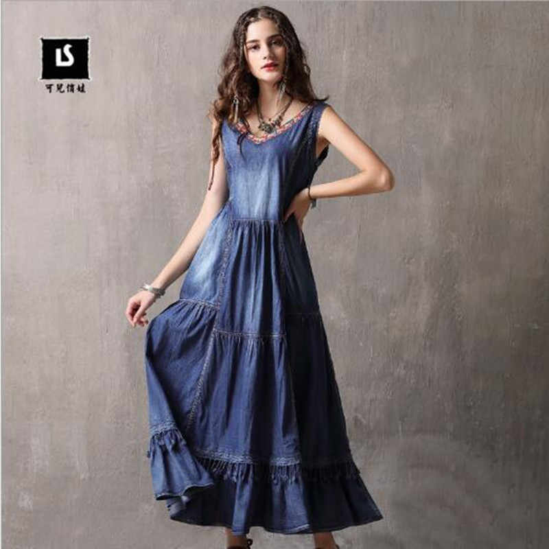 Brand women's dress 2019 Summer New V-neck Vest Dress Long dress Vintage embroidered large size denim dress 82091