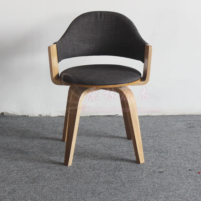 Korean Wooden Swivel Chair Leather Desk Chair Solid Wood Frame Rotatably  Casual Cafe Chair Restaurant Chair