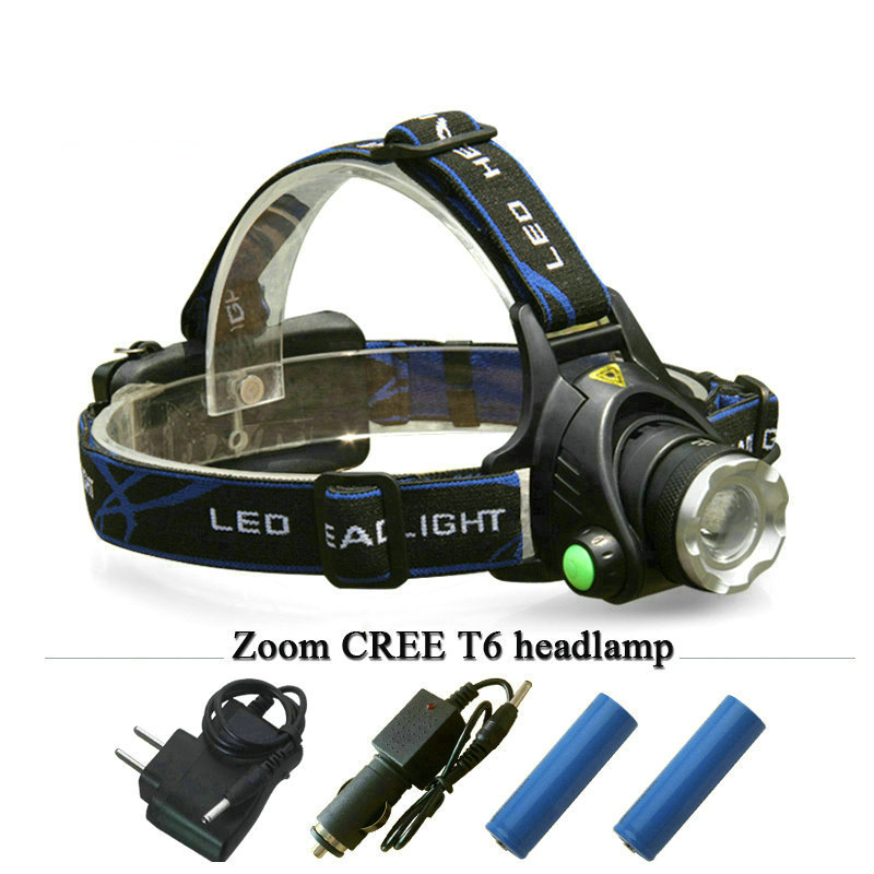 LED L2 Rechargeable head lamp 18650 battery CREE XML T6 Zoom LED Headlamp life waterproof 4 mode head light torch lanterna new 003a 3 mode white zoom led headlamp black 4 x aa