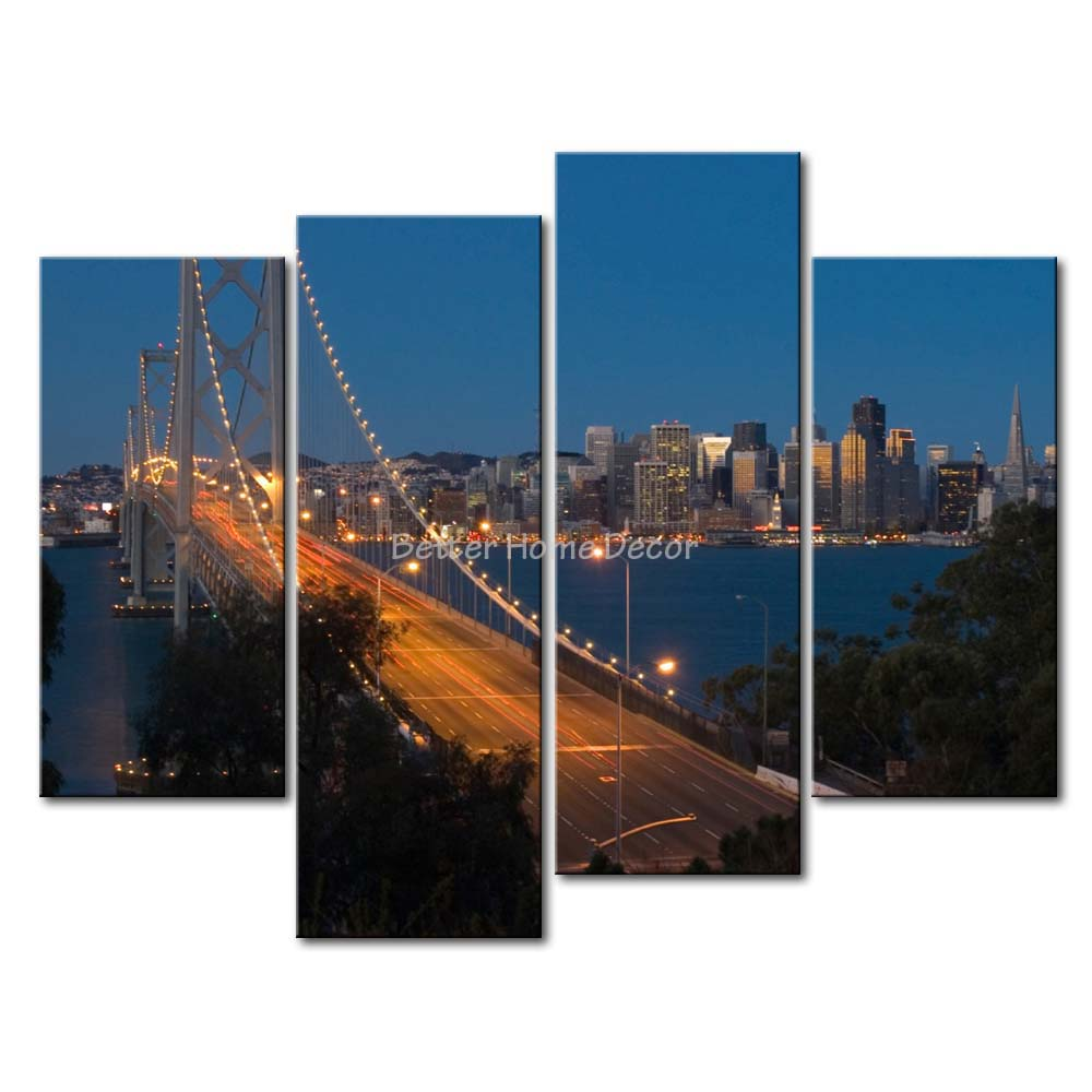 3 Piece Blue Wall Art Painting San Francisco Oakland Bay Bridge Picture  Print On Canvas City 4 5 The Picture-in Painting u0026 Calligraphy from Home u0026  Garden on