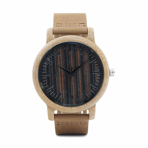 Image 2 - BOBO BIRD WH08 Bamboo Watch Wooden Dial Face with Scale Men Quartz Watches Leather Straps relojes mujer marca de lujo
