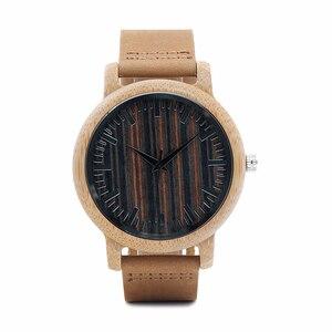 Image 2 - BOBO BIRD WH08 reloj de bambú pantalla de la esfera de madera con escala hombres cuarzo relojes con correas de cuero relojes mujer marca de lujo