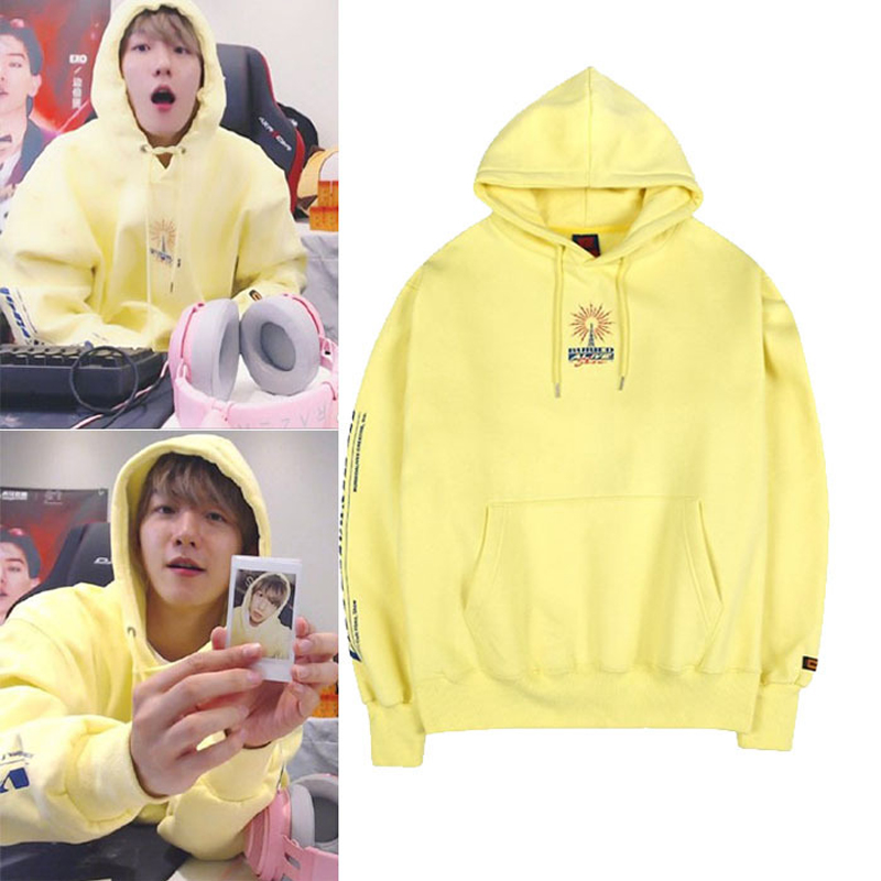 WXCTEAM EXO BAEK HYUN Hoodie Same Style Yellow Letter Korean Version Couple Long-sleeved Casual Sweatshirt Fans Hoodie Moletom
