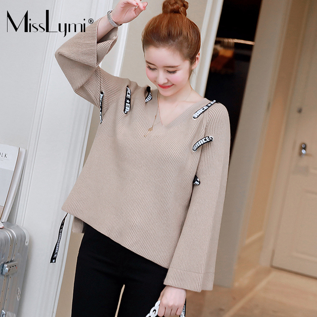 MissLymi XL-4XL Plus Size Women s Knitted Sweaters 2017 Autumn Winter Casual  Loose V- 112d430e6b25