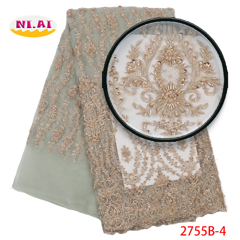French Lace Fabric High Quality Tulle, Heavy Lace Handmade Beaded Lace, Wedding Luxury Dresses Africa Lace Mr2755b-in Lace from Home & Garden    1