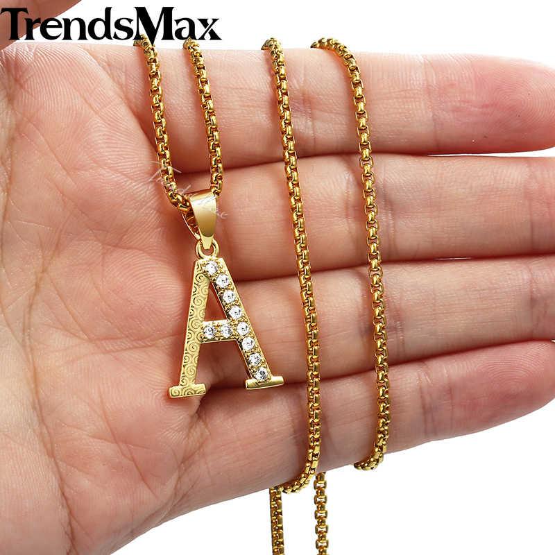 Trendsmax cyrkonia CZ A-Z 26 breloczek z inicjałem naszyjnik dla kobiet dziewczyn złote wisiorki biżuteria prezent dla kobiet KGPM20