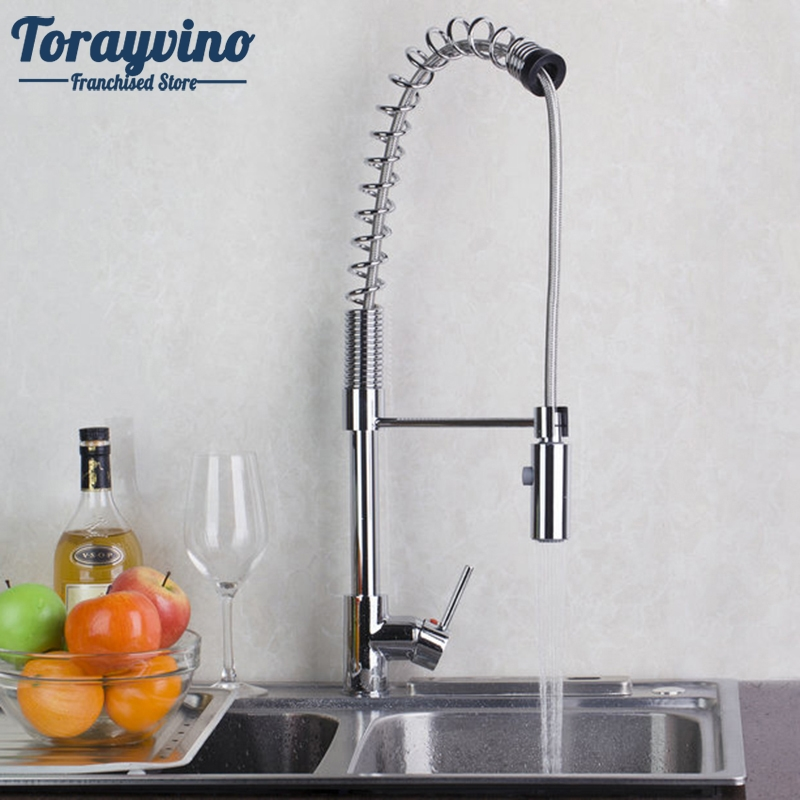 Kitchen Sink Faucet Luxury Pull Out Sprayer Wash Basin Faucets Waterfall 360 Swivel Mixer Chrome Finished Swivel.