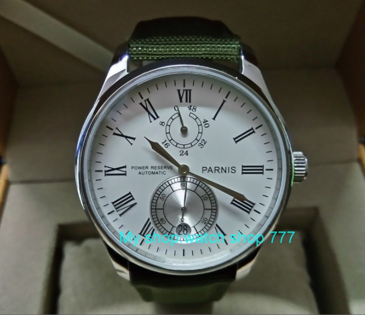 PARNIS 43mm white dial Automatic Self-Wind movement power reserve men's watch Mechanical watches wholesale 158a 40mm parnis white dial vintage automatic movement mens watch p25