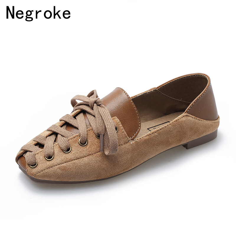 Fashion Ballet Flats Women Casual Shoes 2019 New   Suede     Leather   Lace Up Boat Shoes Woman Leisure Slipons Mocassin Femme