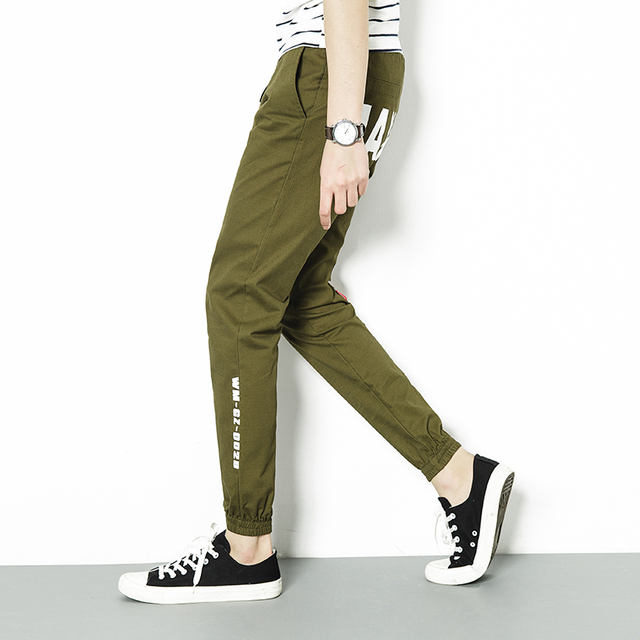 2017 Spring Joggers Army Green Harem Pants Men Brand Clothing Plus Size Letter Print Mens Joggers Casual Korean Men Trousers 5XL