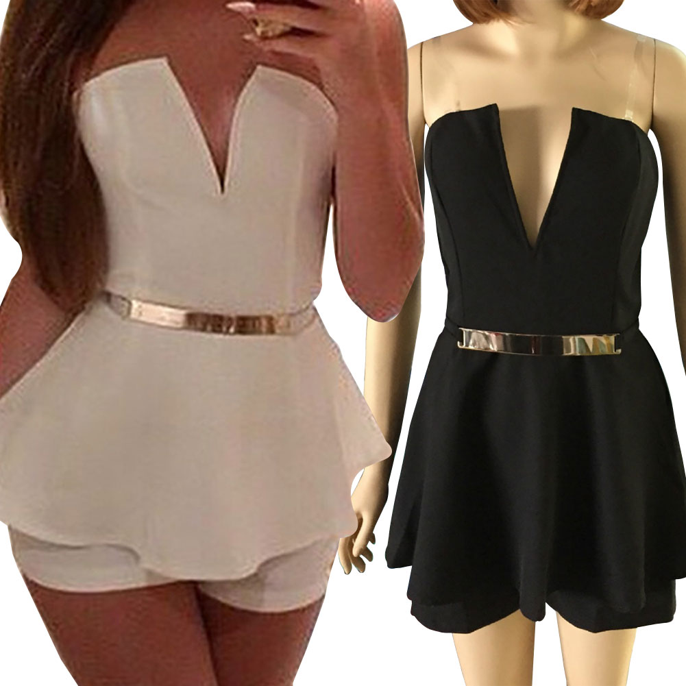 Summer Style Vestido Sexy Shorts for Women V Neck Plus Size Rompers Womens Elegant Jumpsuit Chiffon Clubwear Bodysuit F