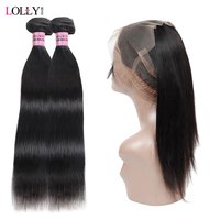 Lolly Straight Human Hair With Closure Remy Hair Peruvian Hair Bundles With Closure Pre Plucked 360 Frontal Closure With Bundles