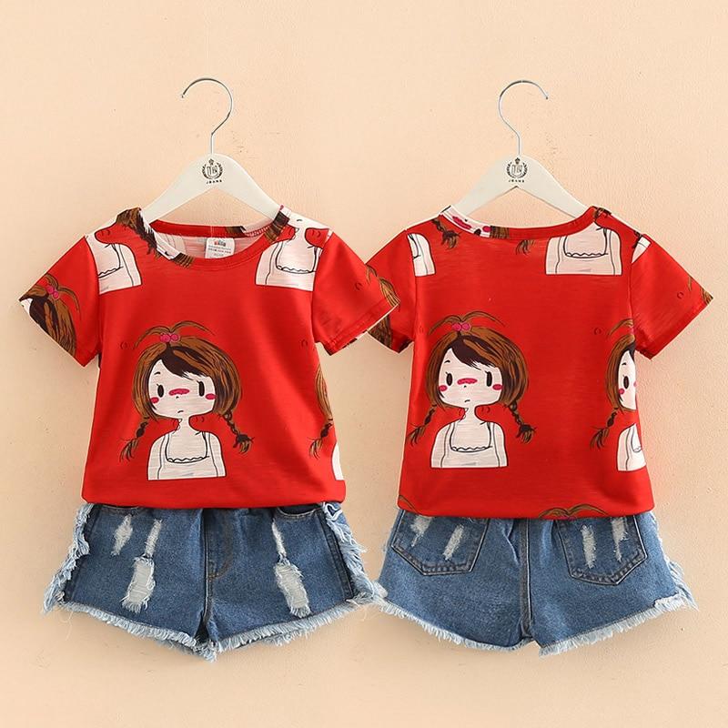 Girls Clothing Set O-neck Sleeveless 2021 Summer 2-10 Years Old Kids Girl Red Cartoon T Shirt+Denim Jeans Shorts 2 Pcs Suit Set 1