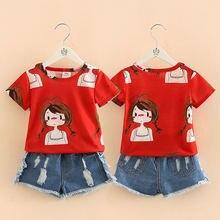Комплект одежды для девочек футболка без рукавов с круглым вырезом