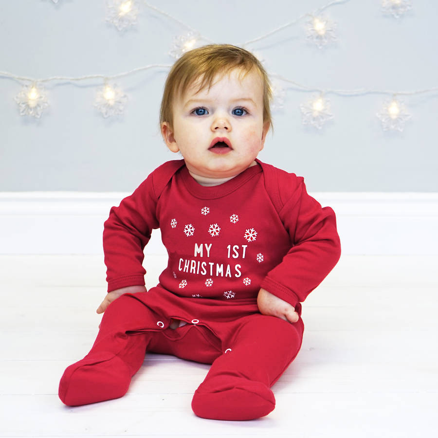 Hot Sale My 1st Christmas Long Sleeve Footies Baby Climbing Clothes ...