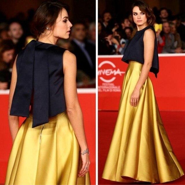 Vestido dorado con azul