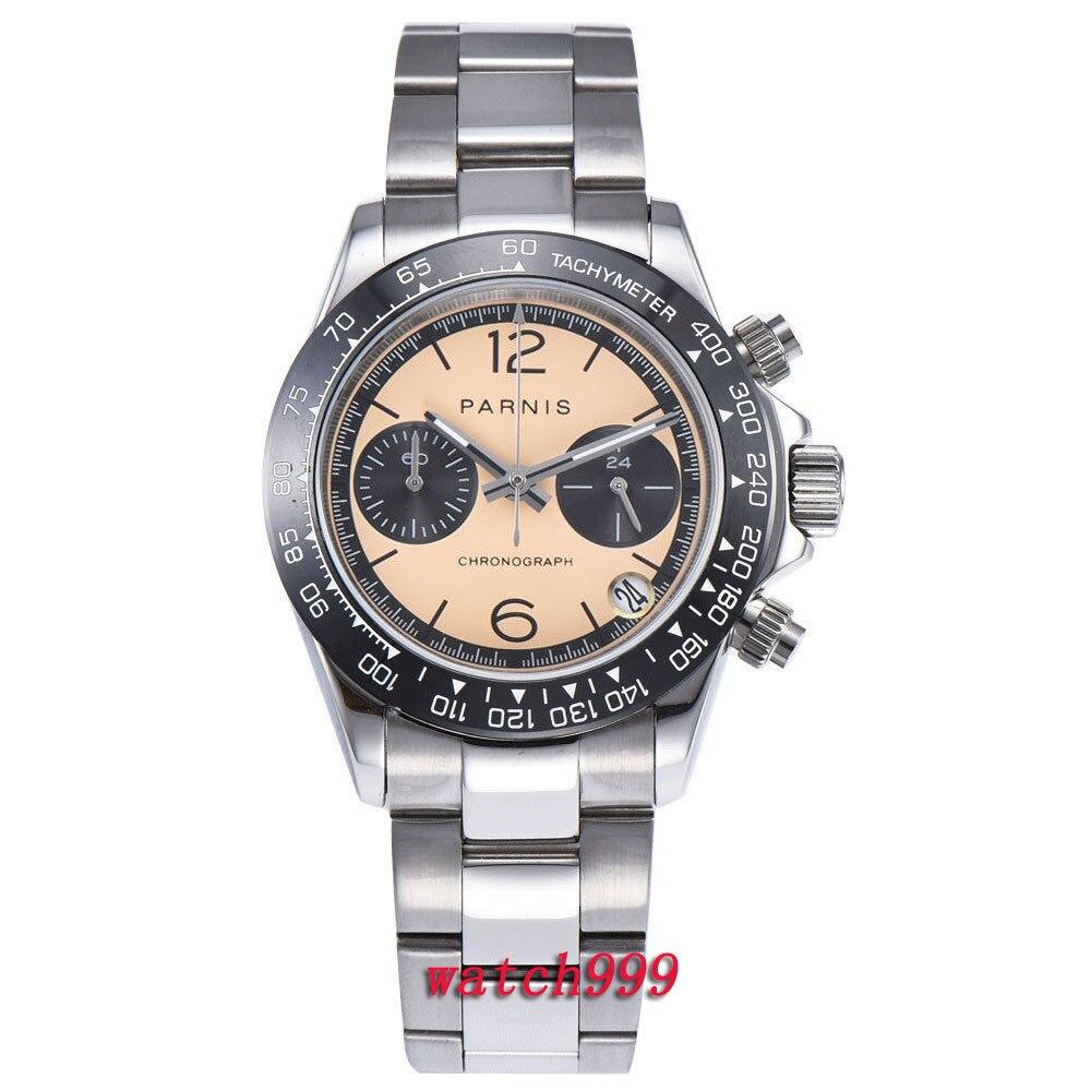 39mm PARNIS montre hommes horloge En Céramique lunette Lumineux mains saphir cristal solide plein Chronographe à quartz mens watch