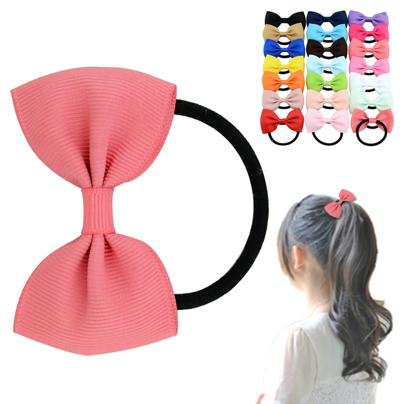 20pcs Girls Hair Band Rope Bow Grosgrain Ribbon Elastic Headband Wholesale hot sale hair accessories headband styling tools acessorios hair band hair ring wholesale hair rope