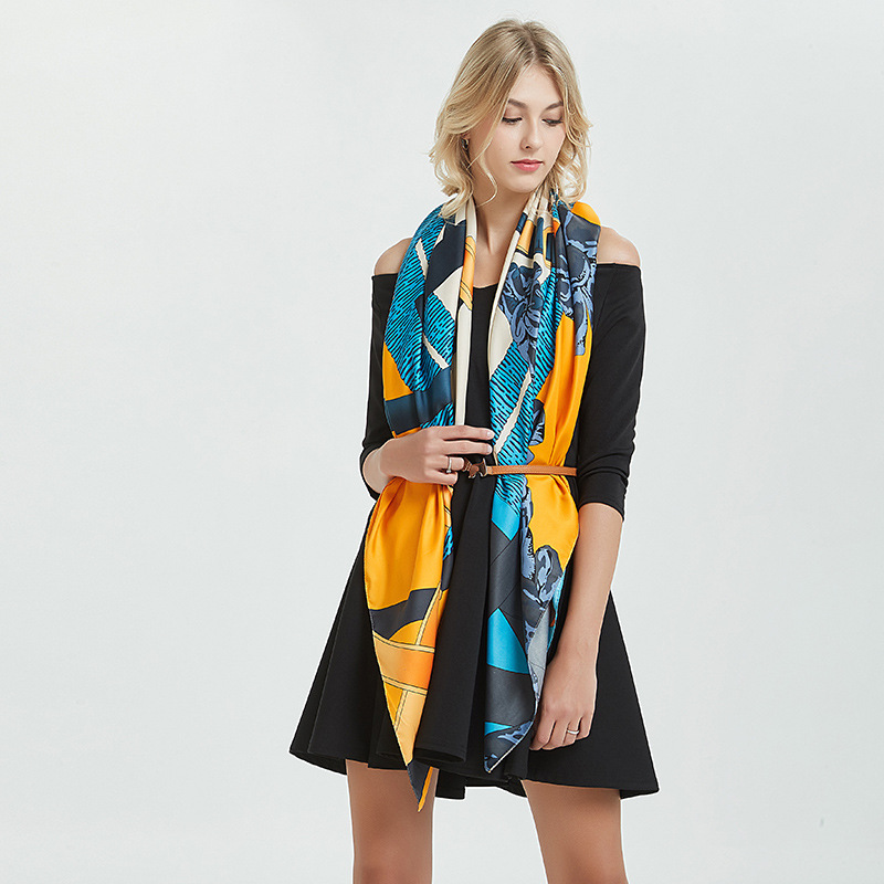 Women luxury brand Silk   Scarf   Foulard Stoles Printed Bandana Shawl   Scarves     Wraps   Flowerpot style Head   Scarf   130*130cm