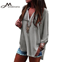 Avodovama M Female Fashion Solid Casual Blouse Long Sleeve V Neck Women Blouse Tops Plus Size