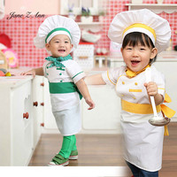 Jane Z Ann Baby Photography Props Chef 4 Pcs Set Tops Apron Scarf Hat Fotografia Cook